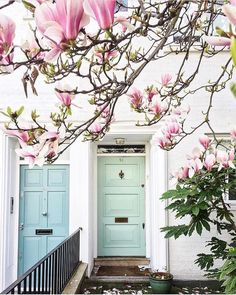 Adding this one to our spring mood board. Bright Front Doors, Front Door Colors, Mineral Paint, Spring Time, Spring Scene, Pink Flowers, Beautiful Homes, House Beautiful, Magnolia