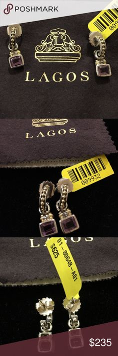 Lagos SS/18K Gold petite Caviar Hoops w/ Amethyst Lagos Sterling Silver and 18K Yellow Gold Caviar Petite Hoops with Removable Amethyst Drops. 14K Posts for Pierced ears.  New with Tags from pet and smoke free environment.  Elegant! Lagos Jewelry Earrings