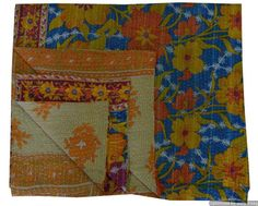 Indian Bohemian Vintage Kantha Quilt Sari Throw
