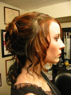 curls and some pinning at the back