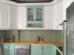 Mutfak, Beyaz, Yeşil, Mobilya boyama