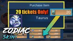 Bente 20 tickets Zodiac Skin Secret Shop - Mobile Legends Skin Secrets, Mobile Legends, Fb Page, Ticket, The Secret, Zodiac, Shop, Youtube, Horoscope
