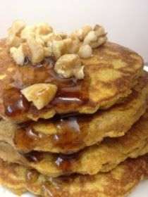 Nuts are important in a paleo diet. Top your pancakes with walnuts! Paleo Breakfast: Protein Pumpkin Paleo Pancakes - made with organic cocoanut flour and pumpkin NOTE: these look yummy but have no idea what Paleo diet is! Real Food Recipes, Cooking Recipes, Yummy Food, Healthy Recipes, Paleo Food, Healthy Food, Paleo Ideas, Eating Paleo, Disney Recipes