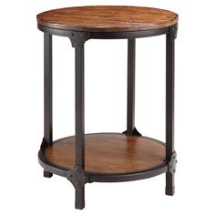 Bring industrial-inspired style to your living room or study decor with this stylish end table, featuring an open metalwork frame and antiqued surfaces.