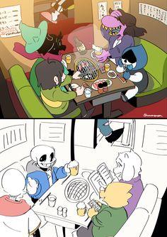 """""""Let's eat for 4 people"""" Undertale Comic Funny, Undertale Memes, Undertale Ships, Undertale Drawings, Undertale Cute, Undertale Fanart, Frisk, Pokemon, Nerd"""