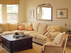 This oversized sofa would be great for loving room as it is cozy enough for the family. Plus the color is warm and inviting and matches the flooring.