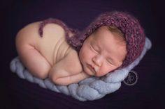 new born knitted bonnet,burgundy mohair bonnet