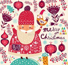 Christmas illustration with Santa Claus - Christmas Seasons/Holidays