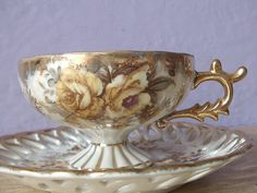 Yellow rose tea cup and saucer set, gold, hand painted, Castle Japan, 1950s, lustreware.