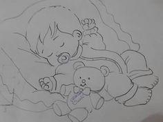 Bebê dormindo [menino] 3 - risco