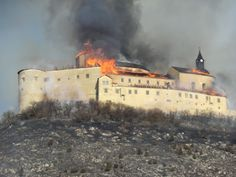 Krasna Horka Castle  burning. March 10, 2012. The roof began to burn when ignited dry grass two young Gypsy boys there who smoked cigarettes near existing Gypsy settlements.