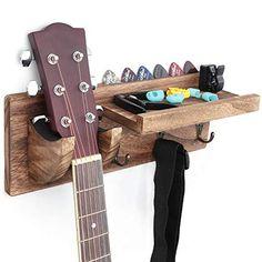 Bikoney Guitar Holder Wall Mount Bracket Hanger Guitar Wood Hanging Rack with Pick Holder and 3 Hook Bikoney