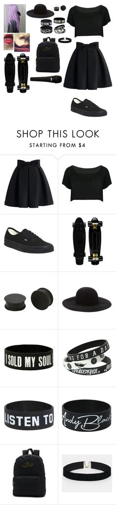 """Black"" by piercetheveil1000 on Polyvore featuring Chicwish, WithChic, Vans, KAOS, Forever 21 and ASOS"