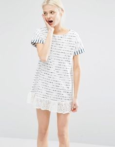I Love Friday | I Love Friday T-Shirt Dress In Breton Stripe With Lace Trim Hem at ASOS
