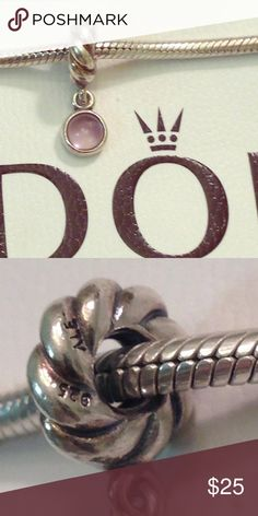Authentic Pandora with purple cz dangle Authentic Pandora charm. Good pre-loved condition. Purple/Amethyst is February's birthstone. ❤️ Pandora Jewelry Bracelets
