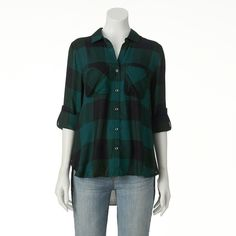 Women's Rock & Republic® High-Low Plaid Shirt ($35) ❤ liked on Polyvore featuring tops, green, white top, green plaid shirt, green shirt, roll top and tartan shirt
