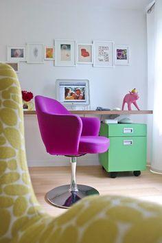 My absolute dream desk chair: a Saarinen chair reupholstered in dreamy magenta.