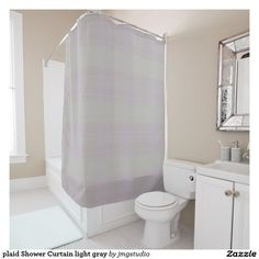 plaid Shower Curtain light gray