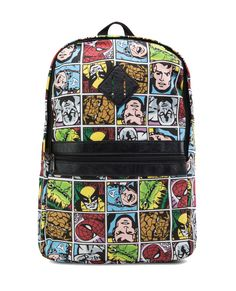 Comic Strip Printed Backpack by 24:01. Super fun backpack with a comic strip pattern, made from cotton with a combination of synthetic leather, multi-color, lightly padded straps, single grab handle,  front pocket, main compartment with zipper closure, leatherette patch accent, inner pocket.   http://www.zocko.com/z/JKKEv