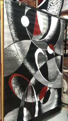Abstract Contemporary 5x8 Red Black White Gray Area Rug Modern Carpet #Contemporary