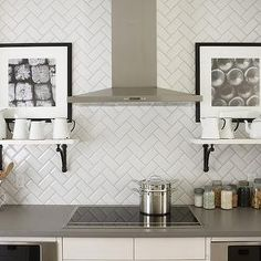 Love the herringbone subway tile...add some butcher block counters=dream kitchen!