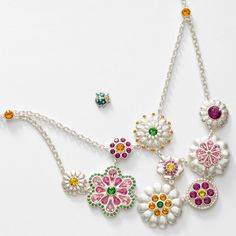 """Sunflower, Tangerine, Fern Green, Fuchsia, Light Rose, and Rose crystal; worn silver plating; 16"""" to 19"""".  Ladybug tac pin features Crystal and Sunflower crystal. (Hostess Alison Manaher)"""