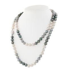 """Sterling Silver 8-9MM Black, White and Gray Ringed Freshwater Cultured Pearl 36"""" Necklace"""
