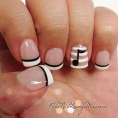Maybe with a heart or other design... But I love the French with black and especially the white striped accent nail.