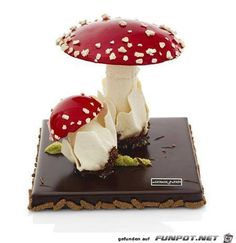 Claire Damon, Des Gâteaux et du Pain toadstool chocolate gateux dont know what it says but the picture is full of fairy prettiness and it would make a good cake decoration Beautiful Cakes, Amazing Cakes, Cute Food, Yummy Food, Chocolate Showpiece, Pastry Art, Cupcakes, Fancy Desserts, Chocolate Decorations