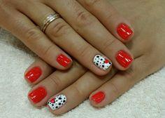 Image (17) | SalonGeek Fancy Nails, Cute Nails, Pretty Nails, Red Gel Nails, Valentine Nail Art, Heart Nails, San Valentino, Cute Nail Designs, Nail Arts