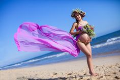 Pregnant woman - Beautiful pregnant woman walking on blue beach in summer vacation
