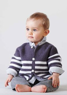 FREE Navy Stripes Baby Jacket Pattern. Available now at LoveKnitting.com
