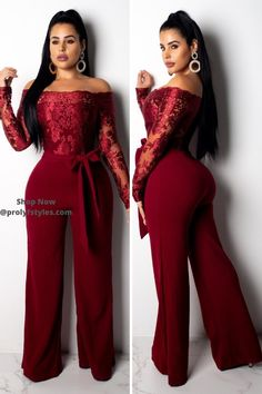 Showcase your great fashion style in this classy burgundy off shoulder jumpsuit. This burgundy jumpsuit with long sleeve is one that you definitely want in your fashion arsenal. Casual Dress Outfits, Classy Outfits, Fashion Outfits, Fashion Styles, Women's Fashion, Rompers Women, Jumpsuits For Women, Women's Rompers, Formal Jumpsuit