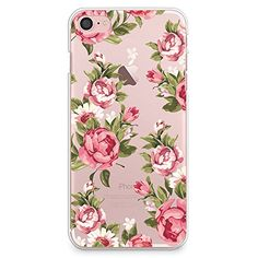 iPhone 7 Case CasesByLorraine Red Rose Floral Pattern Matte Transparent Case Plastic Hard Cover for Apple iPhone 7 E06 * For more information, visit image link. (Note:Amazon affiliate link)