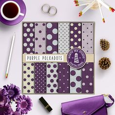 Linen Polkadots Digital Paper -  http://etsy.me/2aDvK9r This listing includes 12 linen polkadots digital papers with purple polkadot on linen / burlap backgrounds.