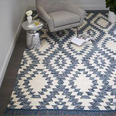Palmette Chenille Wool Kilim Rug, 5'x8', Midnight