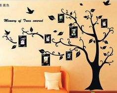 Black Photo Tree Picture Tree Frame Decal Wall Sticker Wall Paper Wall Mural Modern Wall Art 150x210cm/59x80 inch WS0003