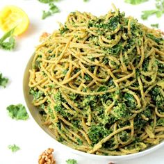This kale and avocado pesto makes for a healthy, easy and delicious #vegan meal!