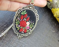 Luxury Embroidered pendant, Victorian rose necklace, Oval, gothic jewelry, hand embroidery, Tibetan silver tone