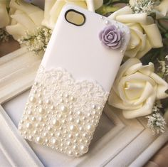Ice cream iPhone 4iPhone 4S paste lace Pearl bow drill protection shell mobile phone shell powder blue white purple