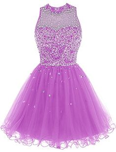 Bbonlinedress Short Tulle Beading Homecoming Dress Prom Gown Lilac 12 *** You can get additional details at the image link.