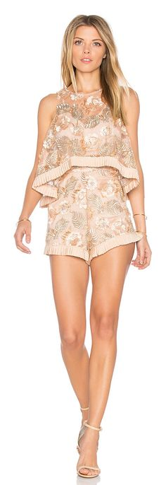 Diggin On You Romper by Alice McCall. Nylon blend. Dry clean only. Adjustable shoulder straps. Pleated trim. Draped bodice overlay. Mesh fabric with embroi...