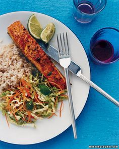 Curry Rubbed Salmon with Napa Slaw - .       .     View Gallery           We Also Love       Heart-Healthy Mediterranean Diet Recipes.      .    ��1 of 2      Comments(0)        Broiling makes the salmon golden brown without adding fat. To get the best color and a crisp coat, don't turn the fish over while cooking; it will still cook all the way through without this extra step.
