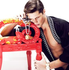 Italian model Elia Cometti posing for Versace story captured by Giovanni Squatriti for the latest edition of ODDA Magazine. Elia photographed in Versace Home showroom is clad in pieces from the Spring Summer 2013 collection.