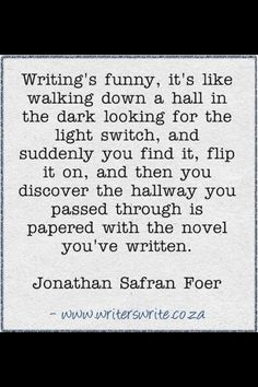 Writing's funny, it's like walking down a hall in the dark looking for the light switch, and suddenly you find it, flip it on, and then you discover the hallway you passed through is papered with the novel you've written.