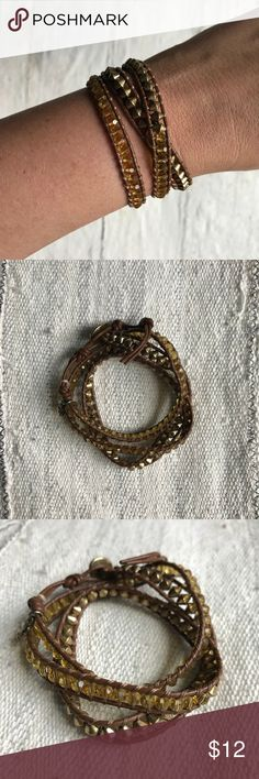 Lucky Brand - Wrap Bracelet Lucky Brand / brown leather wrap bracelet with gold and yellow stone beads / adjustable length (several eye closures, you pick the length most comfortable for you!) Lucky Brand Jewelry Bracelets
