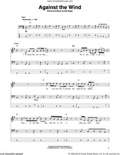 Seger - Against The Wind sheet music for bass (tablature) (bass guitar) Bass Guitar Sheet Music, Bass Guitar Notes, Guitar Solo, Guitar Tabs, Acoustic Guitar, Print Sheet Music, Sheet Music Pdf, Digital Sheet Music, Tablature