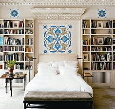 Library bedroom idea. I like the painted mural over the bed.