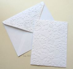 Paw Print Embossed Cards - Set of 4 white A2 embossed cards or Choose Your Colors by StudioIdea on Etsy