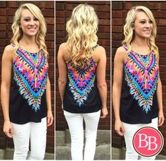 Grab your shades  'cause this NEW ARRIVAL is comin' in BRIGHT!! Our NEW Wanna Tassel Tank is now LIVE at www.brandisboutiqueshop.co! #bbgirls #bright #tank #tassel #newarrival